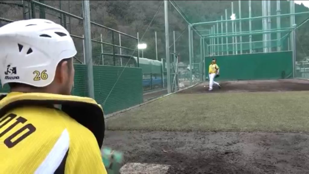 松田投手ストレートリリース時