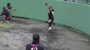 上野投手ウィンドミル腕振り上げ
